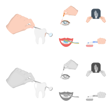 Examination of the tooth, instillation of the eye and other web icon in cartoon,monochrome style. A snapshot of the hand, teeth cleaning icons in set collection.