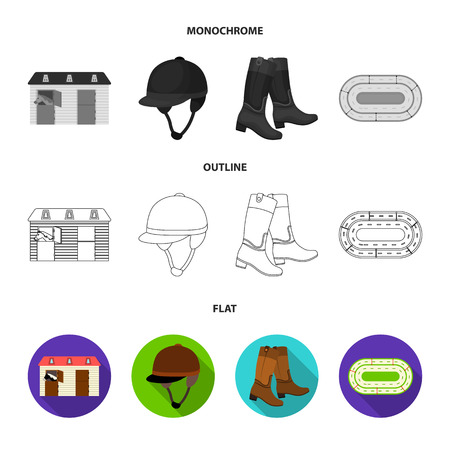Boots, grass, stadium, track, rest .Hippodrome and horse set collection icons in flat,outline,monochrome style vector symbol stock illustration web.