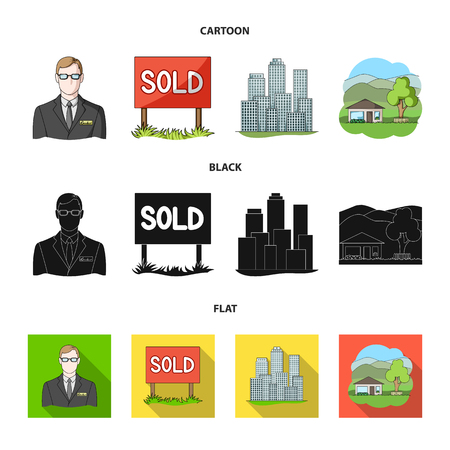 Employee of the agency, sold, metropolis, country house. set collection icons in cartoon,black,flat style vector symbol stock illustration web. Stock Photo