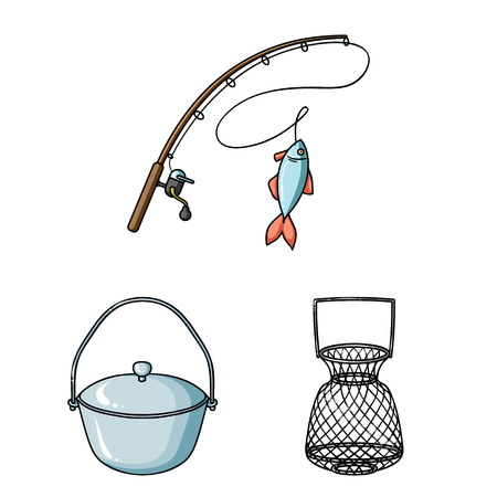 Fishing and rest cartoon icons in set collection for design. Tackle for fishing vector symbol stock web illustration. Vettoriali