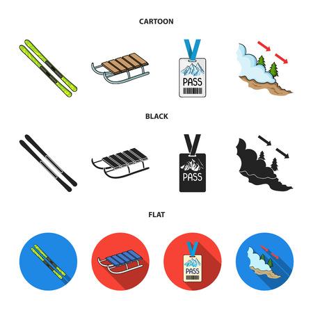 Ski, sled, lifeguard badge, badge avalanche. Ski resort set collection icons in cartoon,black,flat style vector symbol stock illustration web.