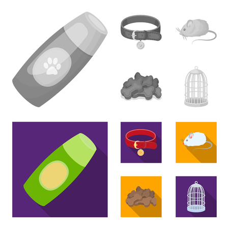 A collar, a forage, a toy, a cage and other products of the zoo store.Pet shop set collection icons in monochrome,flat style vector symbol stock illustration .