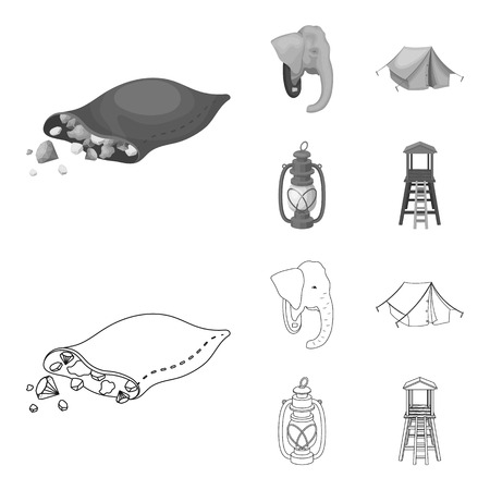A bag of diamonds, an elephant head, a kerosene lamp, a tent. African safari set collection icons in outline,monochrome style vector symbol stock illustration web.