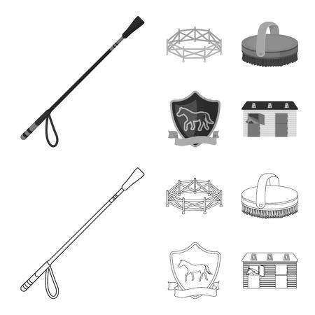 Aviary, whip, emblem, hippodrome .Hippodrome and horse set collection icons in outline,monochrome style vector symbol stock illustration web. Ilustração