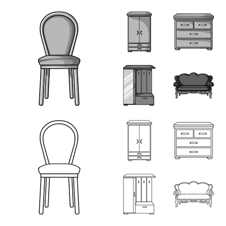 Armchair, cabinet, bedside, table .Furniture and home interiorset collection icons in outline,monochrome style vector symbol stock illustration web.