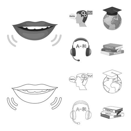 The mouth of the person speaking, the person head translating the text, the globe with the master cap, the headphones with the translation. Interpreter and translator set collection icons in outline,monochrome style vector symbol stock illustration .