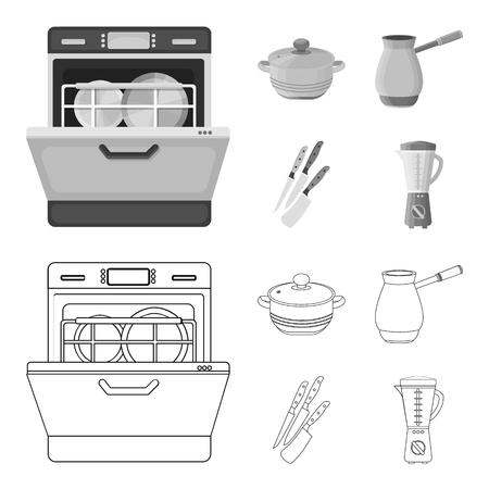 Esquema de equipo de cocina, monocromo iconos de colección set de diseño. Cocina y accesorios vector ilustración de símbolo stock web. Ilustración de vector