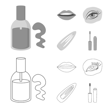 Nail polish, tinted eyelashes, lips with lipstick, hair clip.Makeup set collection icons in outline,monochrome style vector symbol stock illustration web.