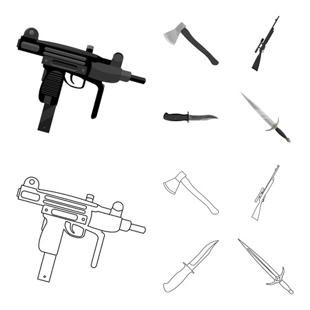 Ax, automatic, sniper rifle, combat knife. Weapons set collection icons in outline,monochrome style vector symbol stock illustration web.