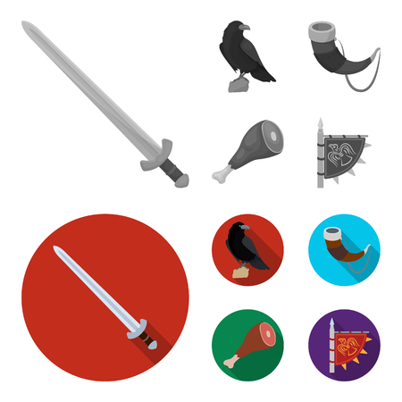 Sitting crow, horn with drink, ham, victory flag. Vikings set collection icons in monochrome,flat style vector symbol stock illustration web. Illustration