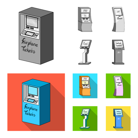 Medical terminal, ATM for payment,apparatus for queue. Terminals set collection icons in monochrome,flat style isometric vector symbol stock illustration web . 矢量图像