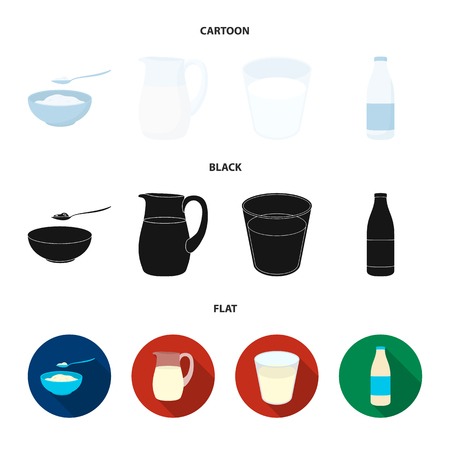 Bowl of cottage cheese, a glass, a bottle of kefir, a jug. Moloko set collection icons in cartoon,black,flat style vector symbol stock illustration web.