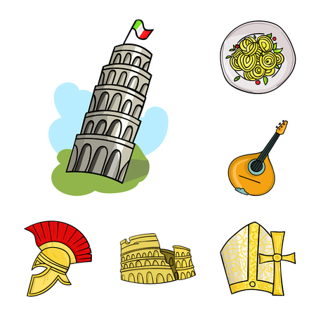 Country Italy cartoon icons in set collection for design. Italy and landmark vector symbol stock web illustration. Banco de Imagens