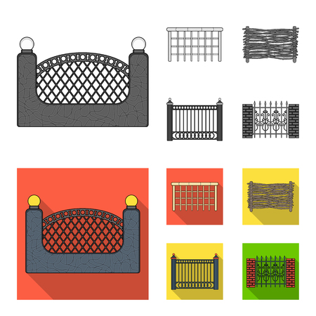 A fence of metal and bricks,wooden palisade. A different fence set collection icons in monochrome,flat style vector symbol stock illustration web. Illusztráció
