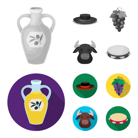 The hat of the todeador, the matador, a bunch of grapes with fists, a bull for the Spanish bullfight, a tambourine. Spain country set collection icons in monochrome,flat style vector symbol stock illustration web. Ilustracja