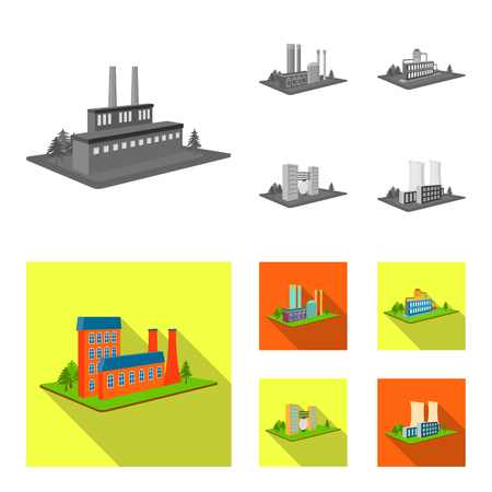 Processing factory,metallurgical plant. Factory and industry set collection icons in monochrome,flat style isometric vector symbol stock illustration web.