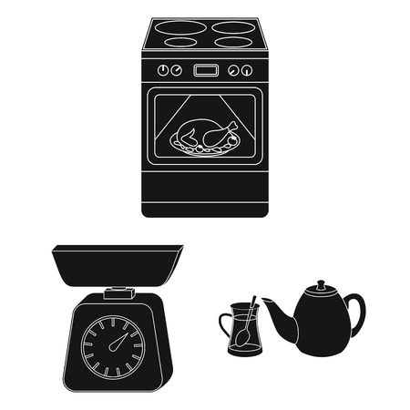 Kitchen equipment black icons in set collection for design. Kitchen and accessories vector symbol stock web illustration. Иллюстрация