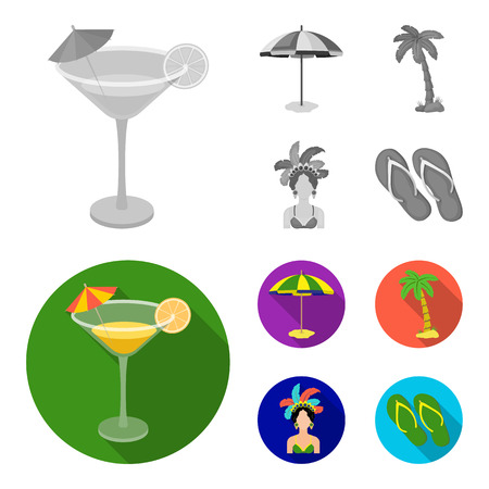 Brazil, country, umbrella, beach . Brazil country set collection icons in monochrome,flat style vector symbol stock illustration web.
