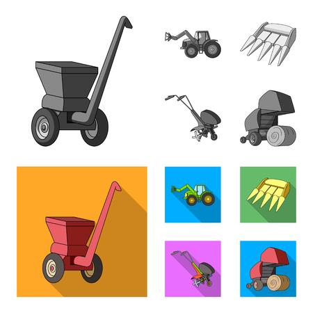 Motoblock e altri dispositivi agricoli. Macchine agricole impostata icone dell'accumulazione in bianco e nero, piatto stile vettoriale simbolo illustrazione stock web.