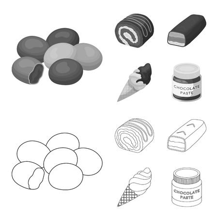 Dragee, roll, chocolate bar, ice cream. Chocolate desserts set collection icons in outline,monochrome style vector symbol stock illustration web.