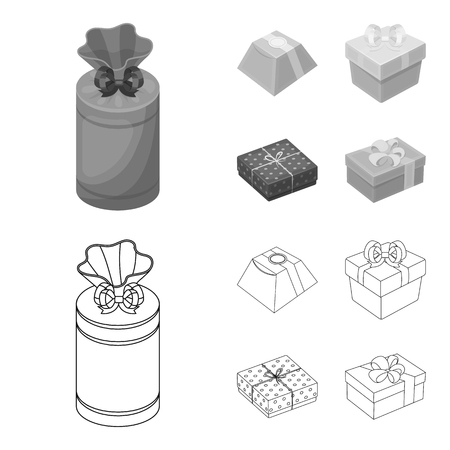 Gift box with bow, gift bag.Gifts and certificates set collection icons in outline,monochrome style vector symbol stock illustration web.