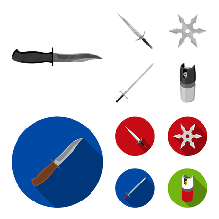 Sword, two-handed sword, gas balloon, shuriken. Weapons set collection icons in monochrome,flat style vector symbol stock illustration web. Illustration