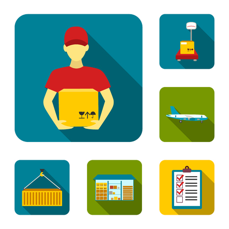 Logistics service flat icons in set collection for design. Logistics and equipment vector symbol stock web illustration.