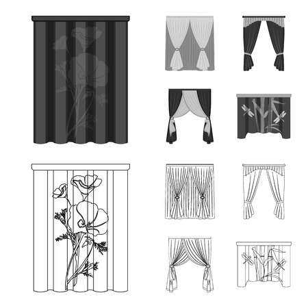 Cornices, garters, ribbon and other web icon in outline,monochrome style.Machine, textiles, furniture icons in set collection.