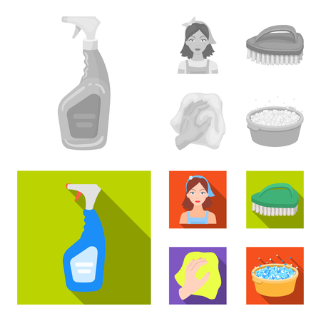 A cleaning woman, a housewife in an apron, a green brush, a hand with a rag, a blue wash hand basin with foam. Cleaning set collection icons in monochrome,flat style vector symbol stock illustration web.