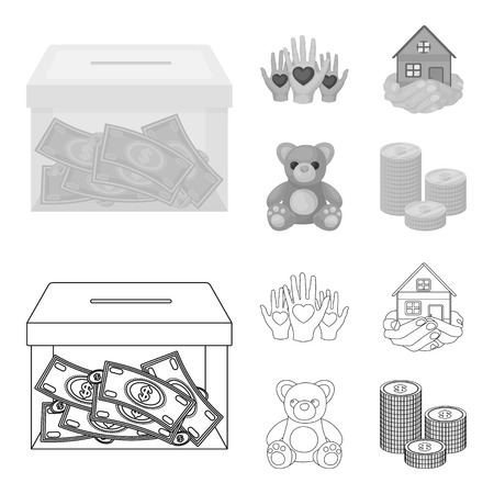 Boxing glass with donations, hands with hearts, house in hands, teddy bear for charity. Charity and donation set collection icons in outline,monochrome style vector symbol stock illustration web.