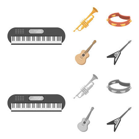 Electro organ, trumpet, tambourine, string guitar. Musical instruments set collection icons in cartoon,monochrome style vector symbol stock illustration web.