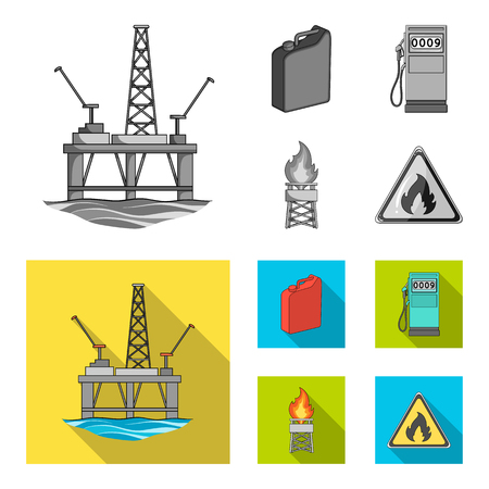 Canister for gasoline, gas station, tower, warning sign. Oil set collection icons in monochrome,flat style vector symbol stock illustration web. Иллюстрация