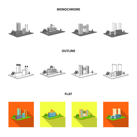 Processing factory,metallurgical plant. Factory and industry set collection icons in flat,outline,monochrome style isometric vector symbol stock illustration web.