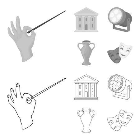 Conductor baton, theater building, searchlight, amphora.Theatre set collection icons in outline,monochrome style vector symbol stock illustration web.