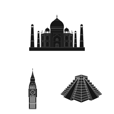 Sights of different countries black icons in set collection for design. Famous building vector symbol stock web illustration. Vettoriali