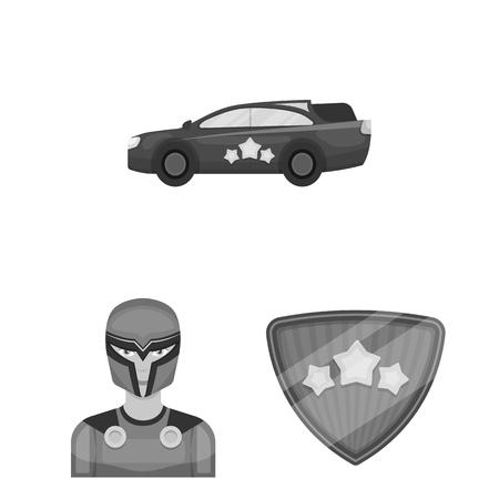 A fantastic superhero monochrome icons in set collection for design. Superhero equipment vector symbol stock web illustration. Stock Illustration - 105168392