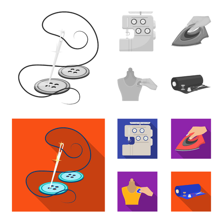 Electric sewing machine, iron for ironing, marking with chalk clothes, roll of fabric and other equipment. Sewing and equipment set collection icons in monochrome,flat style vector symbol stock illustration web.