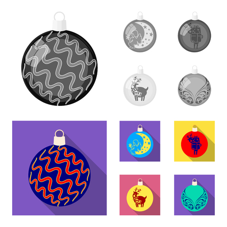 New Year Toys monochrome,flat icons in set collection for design.Christmas balls for a treevector symbol stock illustration.
