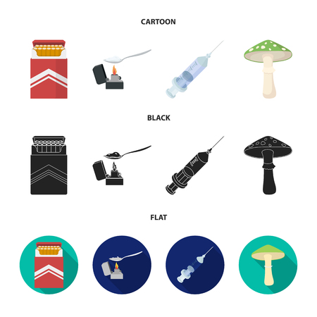 Cigarettes, a syringe, a galoyucinogenic fungus, heroin in a spoon.Drug set collection icons in cartoon,black,flat style vector symbol stock illustration web. Illustration