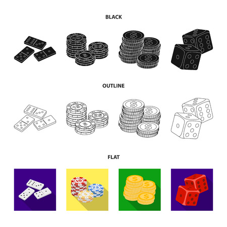 Domino bones, stack of chips, a pile of mont, playing blocks. Casino and gambling set collection icons in black,flat,outline style vector symbol stock illustration web.