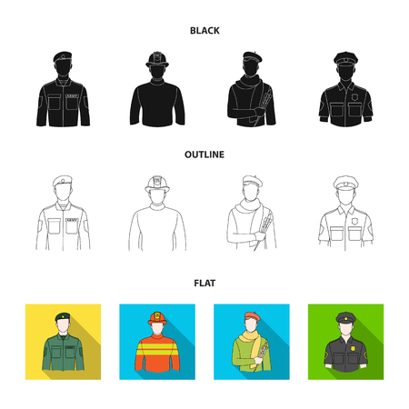 Military, fireman, artist, policeman.Profession set collection icons in black,flat,outline style vector symbol stock illustration web.