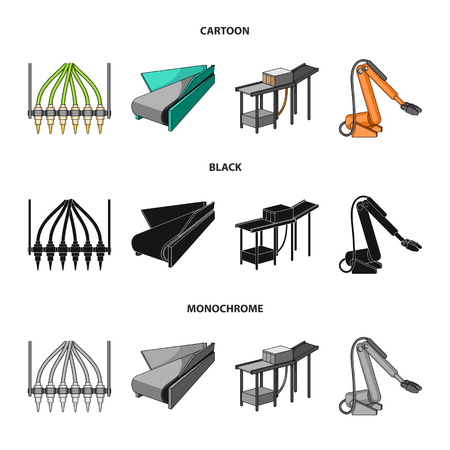 Modern equipment and other icon in cartoon,black,monochrome style.Machine tools and equipment factory icons in set collection.