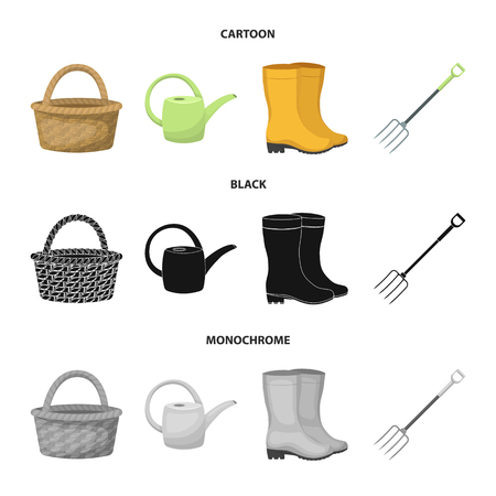 Basket wicker, watering can for irrigation, rubber boots, forks. Farm and gardening set collection icons in cartoon,black,monochrome style vector symbol stock illustration . Ilustração
