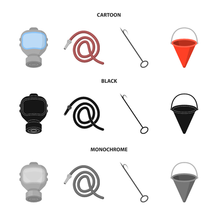 Gas mask, hose, bucket, bagore. Fire department set collection icons in cartoon,black,monochrome style vector symbol stock illustration . Illustration
