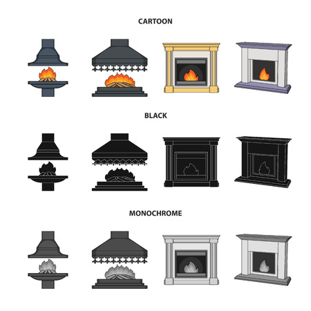 Fire, warmth and comfort.Fireplace set collection icons in cartoon,black,monochrome style vector symbol stock illustration .