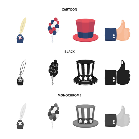 Balloons, inkwell with a pen, Uncle Sam hat. The patriot day set collection icons in cartoon,black,monochrome style vector symbol stock illustration .