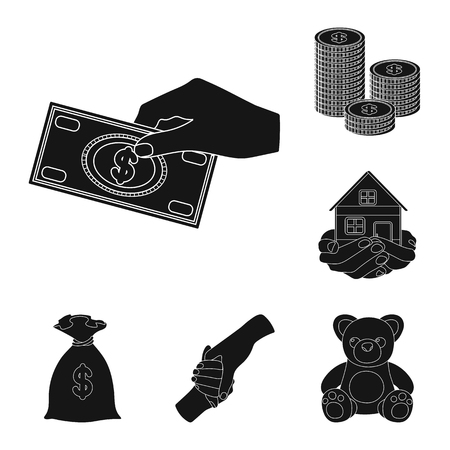 Charity and donation black icons in set collection for design. Material aid vector symbol stock  illustration.