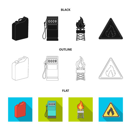 Canister for gasoline, gas station, tower, warning sign. Oil set collection icons in black,flat,outline style vector symbol stock illustration web. Ilustração