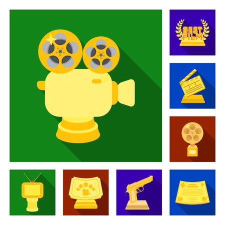 Film awards and prizes flat icons in set collection for design. The World Film Academy vector symbol stock web illustration.