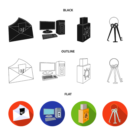 Virus, monitor, display, screen .Hackers and hacking set collection icons in black,flat,outline style vector symbol stock illustration web. Banque d'images